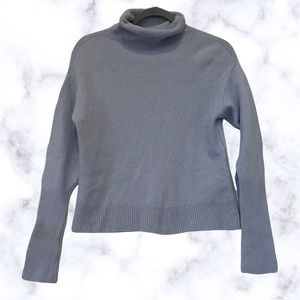 Aritzia Wilfred Cyprie 100% cashmere sweater blue pullover mock neck long sleeve